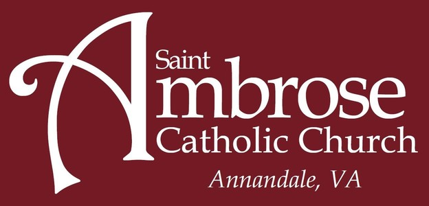 St. Ambrose Catholic Church Logo   Red White